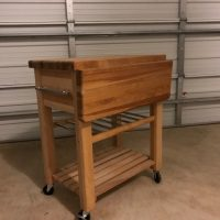 Rolling Butcher Block with Adjustable Top and Wine Rack