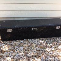 2008 Black UWS low-profile, lockable toolbox for pickup.